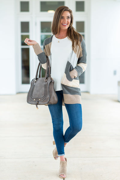 Happy And Light Cardigan, Taupe-Multi