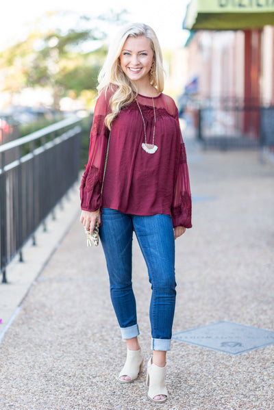 Feminine Love Blouse, Wine