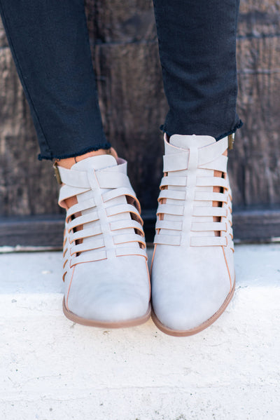 It's The Right Time Booties, Light Gray