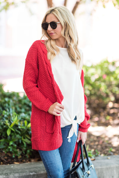 To Love Somebody Cardigan, Red