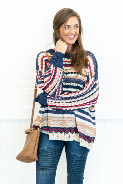 Warm Your Soul Sweater, Navy