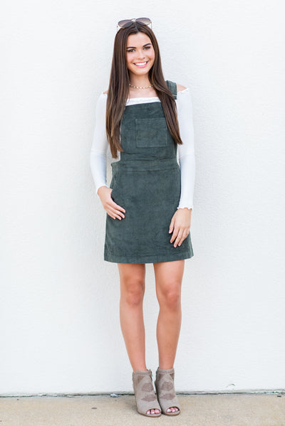 Gone Again Overall Dress, Olive