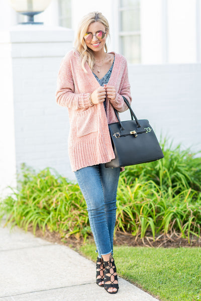 True To Warm Cardigan, Mauve