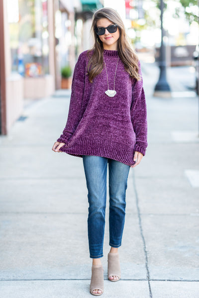 Cozy Is Calling Sweater, Plum
