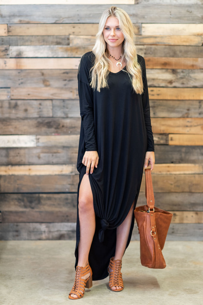 dress, maxi, ankle length, long sleeve, solid, black, fall, winter, v neck, trendy, shopping, everyday, neutral