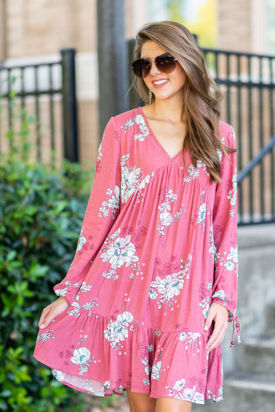 Fit To Be Floral Dress, Brick
