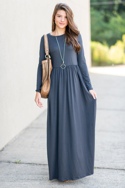 Always Keep An Eye Out Maxi Dress, Dark Gray