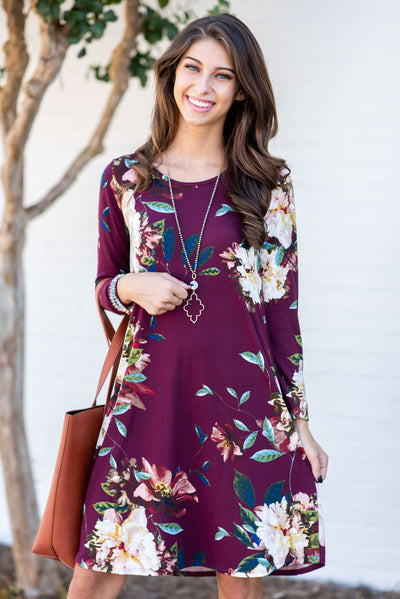 Find Your Beauty Dress, Burgundy