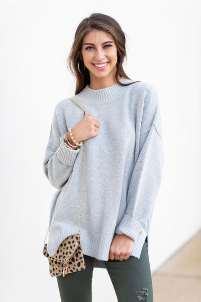 Touch Your Heart Sweater, Heather Gray