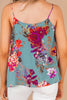 rounded neckline, easy fit, floral print, tank top, thin straps, floral print tank