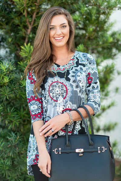 Medallion Of Honor High Low Tunic, Charcoal