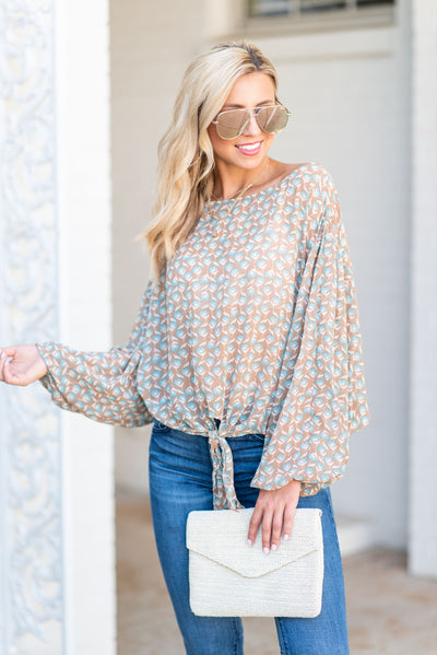 Prolific Beauty Top, Camel-Light Blue