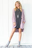 long sleeve, stripes, black, white, above the knee, v back, casual, pockets