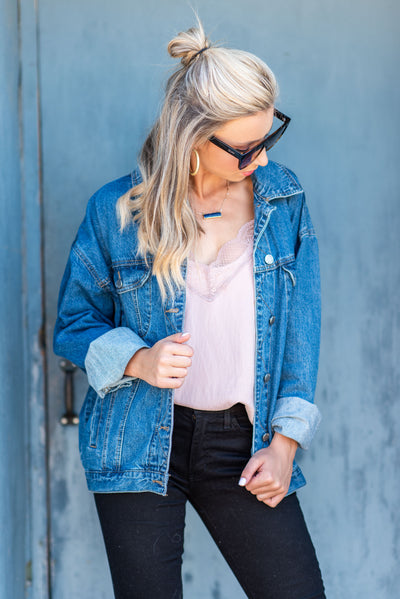 I Wanna Know Denim Jacket, Dark Wash