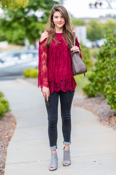 Midnight Splendor Top, Burgundy