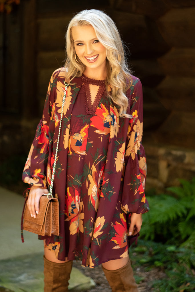dress, casual, fall, winter, long sleeve, keyhole, short, above knee, floral, flowers, red, dark