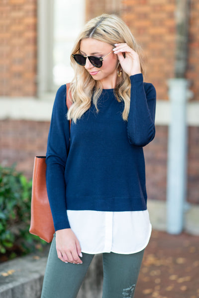 Prim And Proper Sweater, Navy
