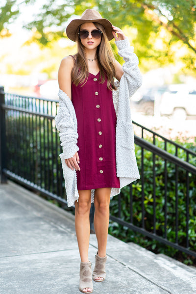 Just Take A Look Dress, Burgundy