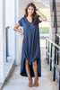 dress, maxi dress, long dress, short front and long back, solid dress, solid maxi dress, casual, cute, comfy, v neck, fall colors, fall styles