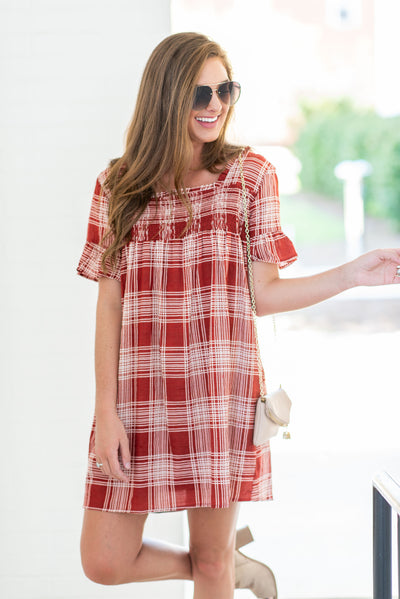 Pop Of Preppy Dress, Rust