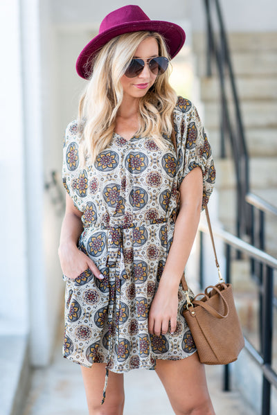Let's Go Retro Dress, Taupe