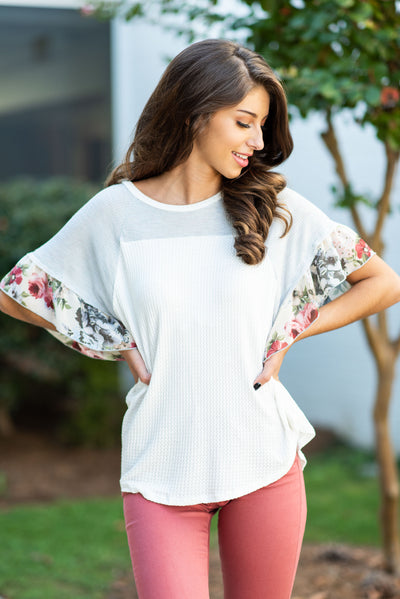 Made To Intrigue Top, Ivory-Blue