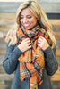 scarf, accessories, plaid, scarves, white, orange, navy, yellow, fall clothing, fall scarves, winter clothing, winter scarves