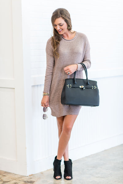 Go About Your Business Sweater Dress, Mocha