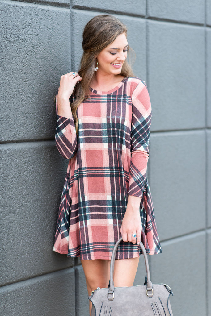 casual, plaid, long sleeve, black, pink, mauve, above the knee