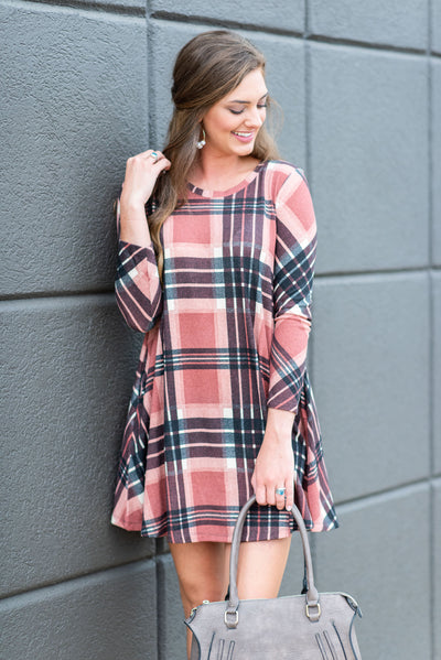 Forever In Love Dress, Mauve-Black