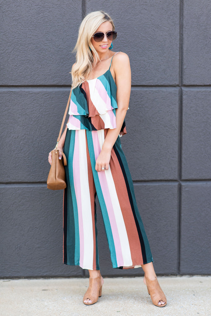 jumpsuit, stripes, striped, ruffles, ankle length, fall, winter, spaghetti straps, multi, multicolored, green, bottoms, pants