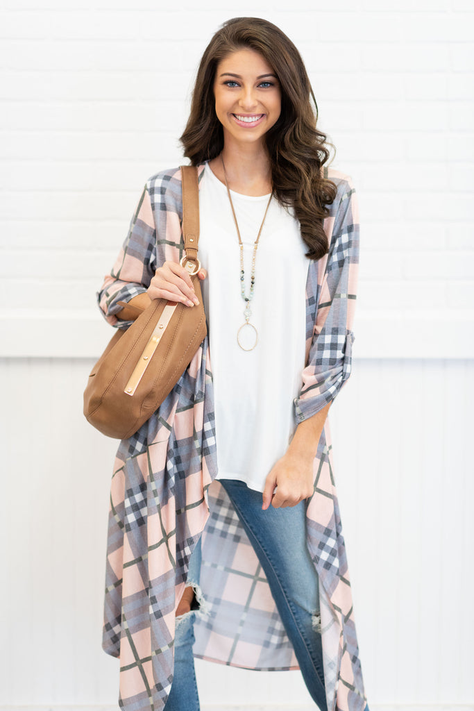Great Minds Think Alike Duster Cardigan, Pink