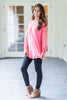 long sleeve, monogram, hot pink, conservative, solid, casual