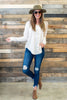 top, casual, fall, winter, long sleeve, button down, solid, white, sand, flowy, v neck, conservative