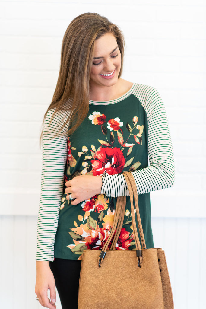Back To Beauty Raglan Top, Hunter Green