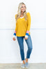 top, mustard, yellow, stripes, blue, pink, white, v neck, long sleeves, fall, solid, bright