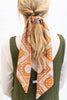scarf, accessory, paisley scarf, multicolored paisley scarf, brown multicolored paisley scarf, orange paisley scarf,