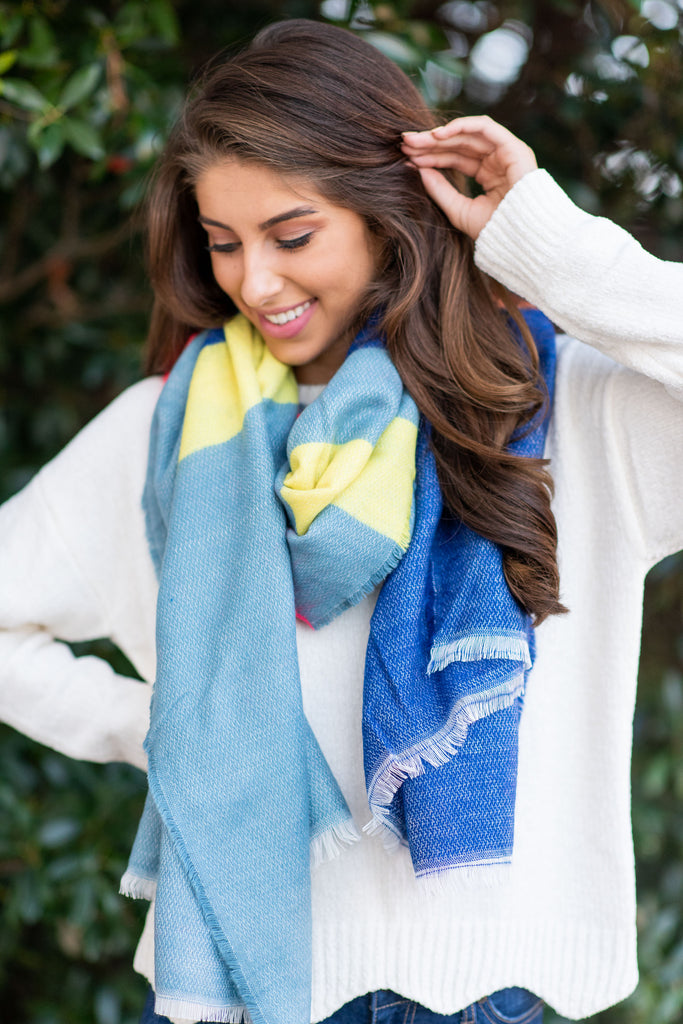 Let's Get Going Scarf, Neon Blue-Multi