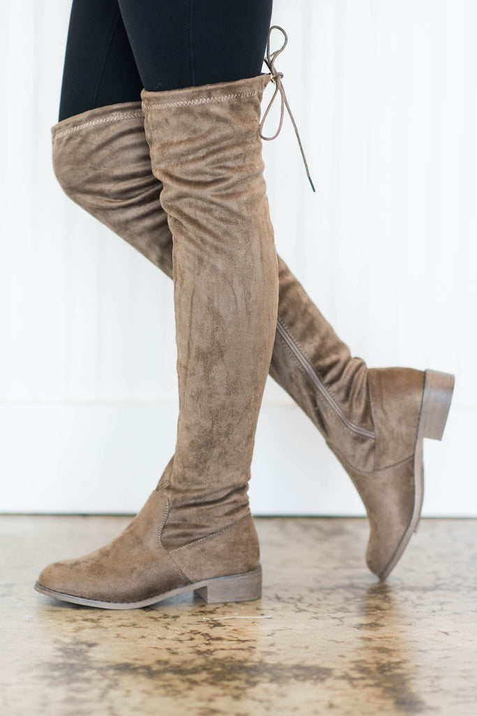shoes, boots, fall, winter, over the knee, brown, solid, shopping, everyday, tie, slip on, neutral