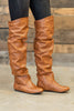 boots, over the knee, tan, brown, flats, close toed, date night