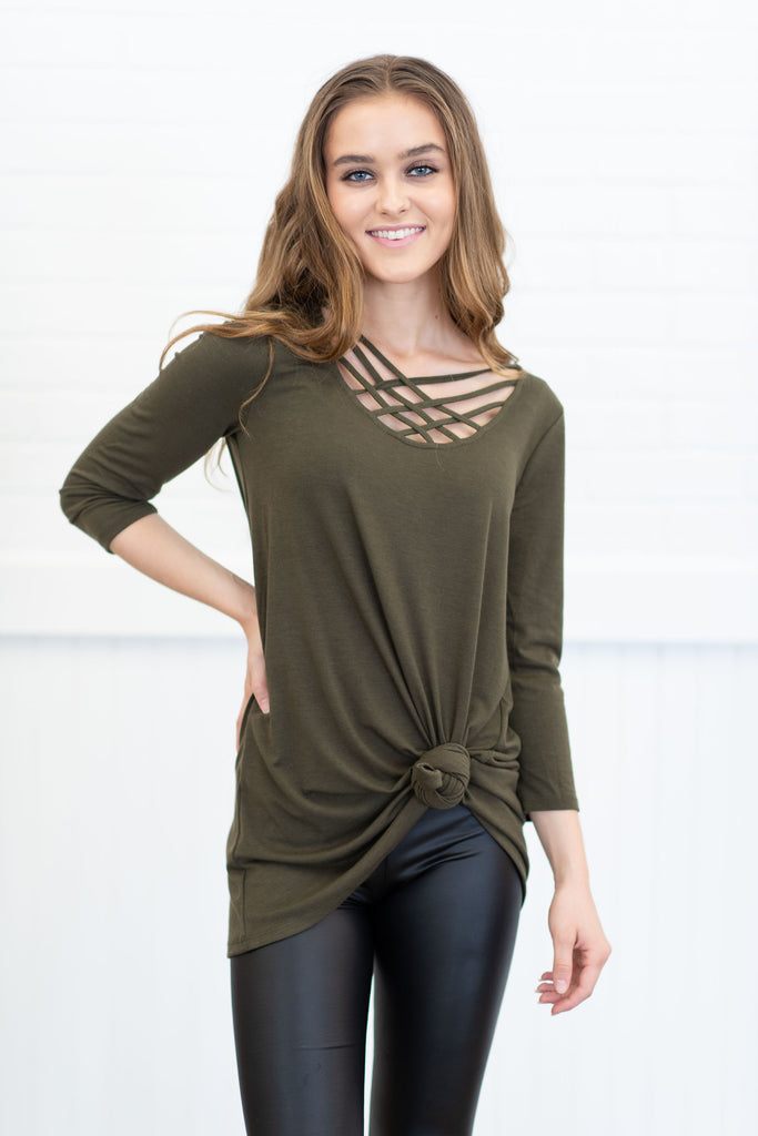 Mind The Details Top, Dark Olive