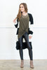 top, shirt, fall, winter, 3/4 sleeve, solid, flowy, crisscross, green, casual, u neck, neutral, dark