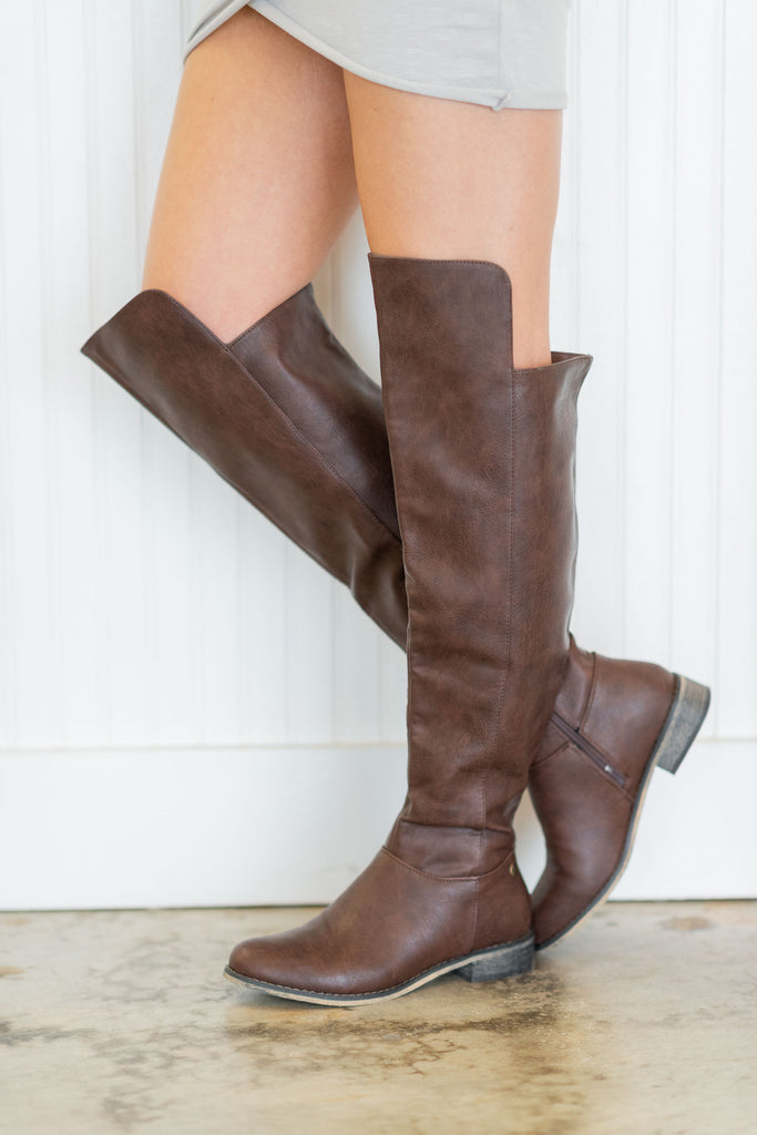 boots, brown , above knee, casual, leather