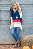 casual, long sleeve, stripes, conservative, red, white, blue, navy, jersey knit