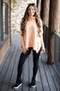 top, sweater, solid, fall, winter, cozy, turtleneck, coral, orange, sherbert, long sleeve, flowy