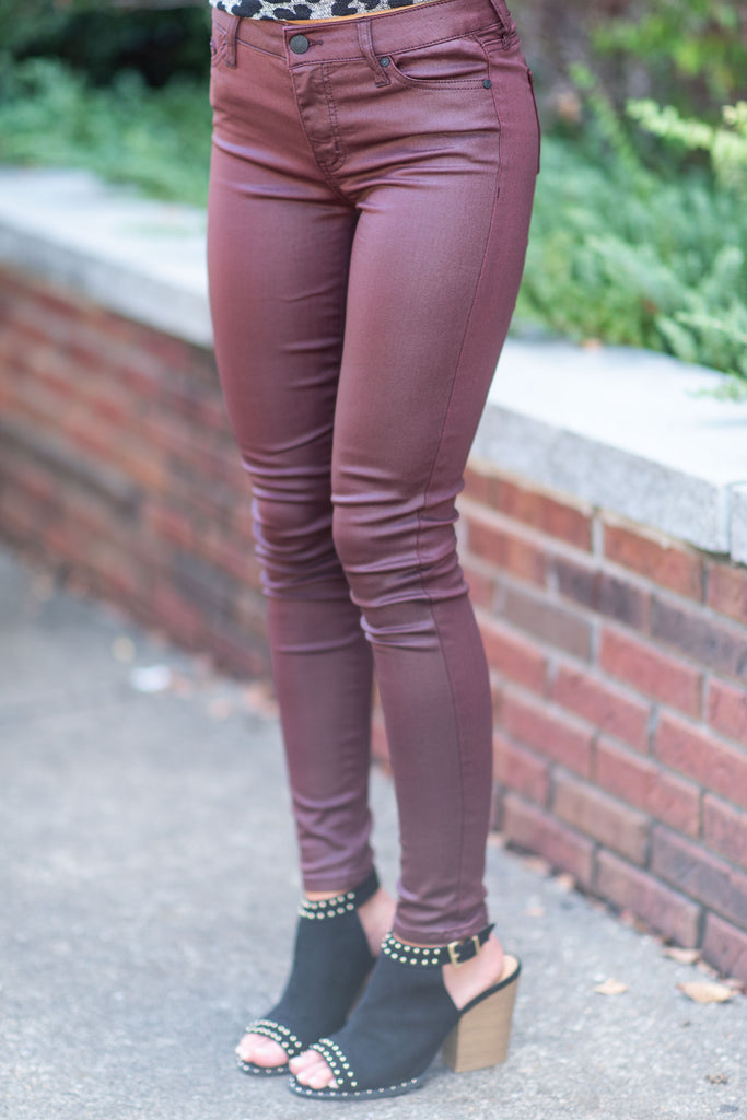 Find Your Way Skinny Jeans, Burnt Red