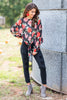 tops, blouse, florals, floral tops, fall florals, fall tops, fall clothing, tie knot, tie knotted tops, long sleeve, red, pink, flowers, black