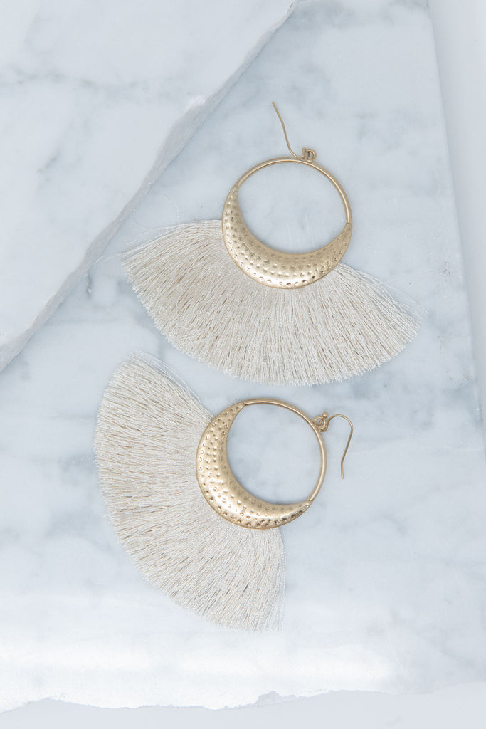 Bring The Drama Earrings, Cream