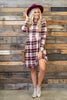 dress, casual, plaid, long sleeve, fall, winter, burgundy, white, red, short, above knee, conservative, flowy