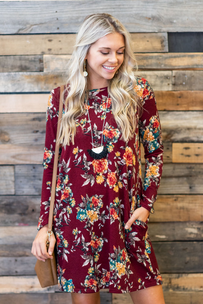 Fond Feelings Dress, Burgundy